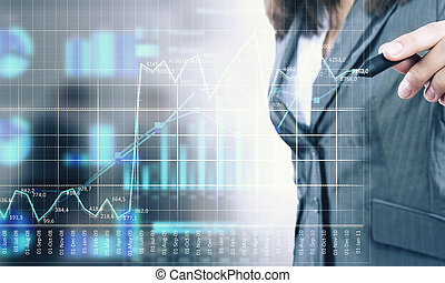 Average sales report - Close view of businesswoman drawing...