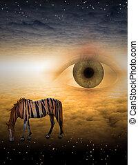Tiger striped horse in strange landscape