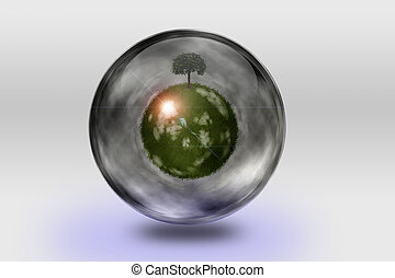 Green globe with tree inside transparent container