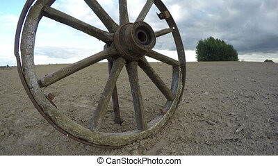 Rustic weathered wooden wheel