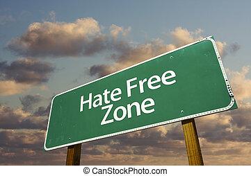 ódio, livre, verde, estrada, sinal, Nuvens