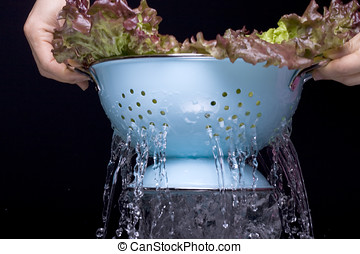 Water draining from a colander. - Water drains from a...