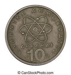 antigas, científico, Grego, átomo, modelo, moeda