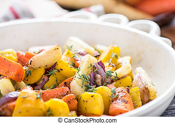 Roasted root vegetables with fresh herbs
