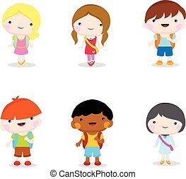 children going to school - six little children going to...