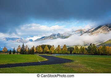 Golf courses in Banff Gorgeous autumn in the Rocky Mountains...