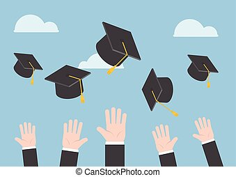 Businessman hands throwing graduation hat in the air,...