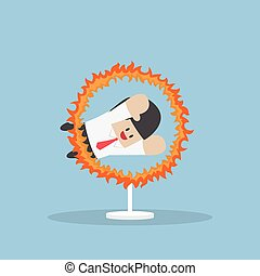 Businessman jumping through the fire hoop, VECTOR, EPS10
