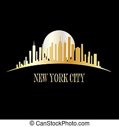 New York skyline - header or banner card, tag, label or...