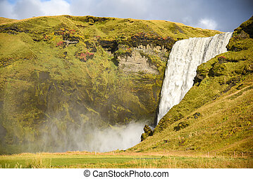 Skogafoss, beautiful waterfall in Iceland - Skogafoss,...