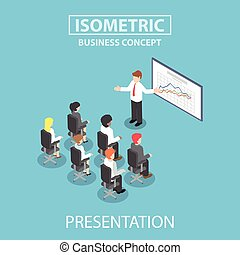 Isometric businessman giving a presentation in a conference meeting