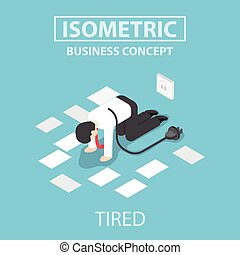 Isometric tired businessman unplug and stop working - Tired...