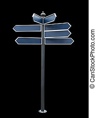 Blank directional sign isolated on black background with...