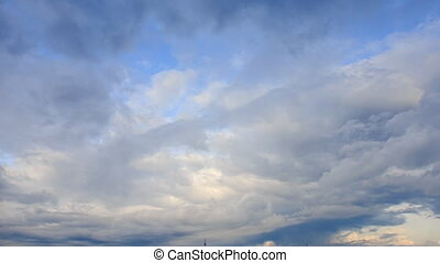 White Cumulus Clouds Motion Sunlight from Behind Clouds -...
