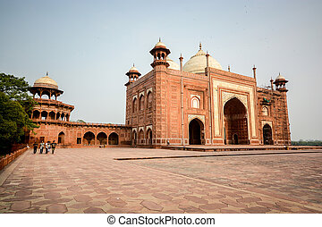 Mosque on the West side of Taj Mahal - AGRA, INDIA - JULY...