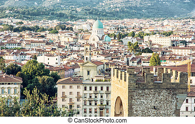 Great Synagogue and San Niccolo in Florence, Italy, cultural...