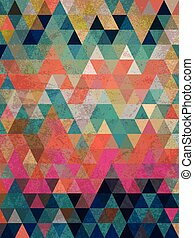 Colorful triangles with antique style background