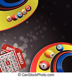 Bingo balls on multi coloured swirl - Bingo Balls Rolling...