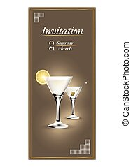 Invitation cards with a cocktail - Modern invitation cards...