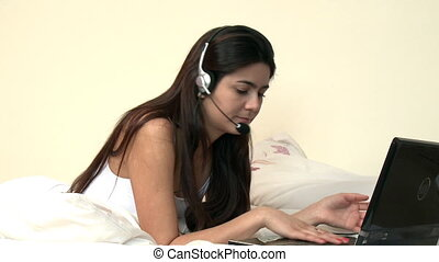 A woman using a headset