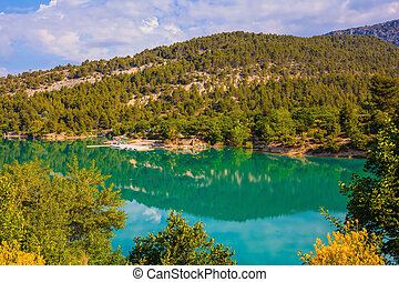 Europe's largest alpine canyon Verdon. Smooth water of the...