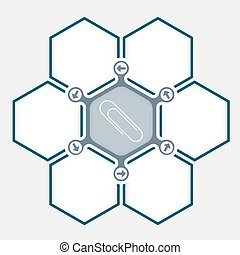 Abstract hexagons for your text and paper clip