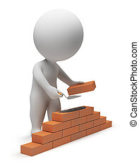 3d small people - builder laying down bricks. 3d image....