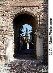 Alcazaba castle on Gibralfaro mountain Malaga, Andalusia,...