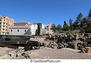 Ancient Roman Theatre near Malaga Alcazaba castle on...