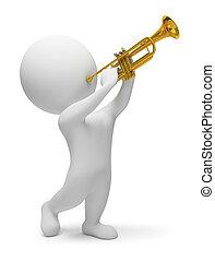 3D, pequeño, gente, -, trompeta