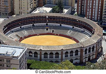 vue, de, Malaga, à, les, place, de, Toros, (bullring),...