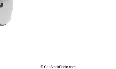 grey transparent liquid fills up screen, isolated on white full HD