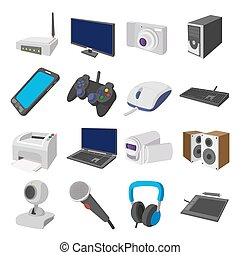 Technology and devices cartoon icons set isolated on white...