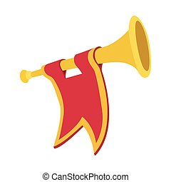 Trumpet with red flag cartoon icon on a white background