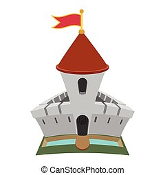 Medieval castle fortress cartoon icon