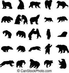 Bear silhouettes set isolated on white background