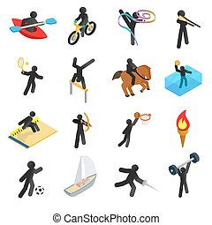 Summer sports isometric 3d icons set. Pictograms with black...