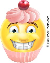 Pink Cupcake Emoji Emoticon