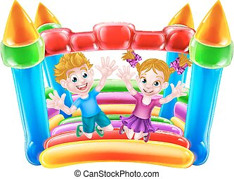 Kids Jumping on Bouncy Castle - Cartoon boy and girl jumping...