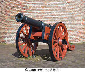 medieval cannon - closeup of an old medieval cannon in...