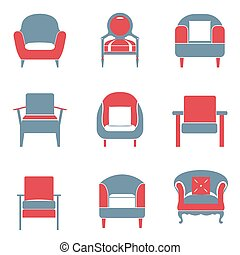 Sofas Icons Set Duotone - Sofas Icons Set Duotone Vector...