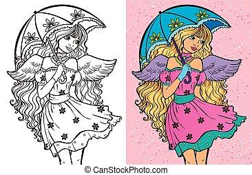 Colouring Book Of Girl With Umbrella - Colouring book vector...