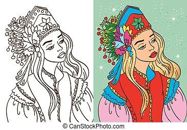 Colouring Book Of Girl In Kokoshnik - Colouring book vector...