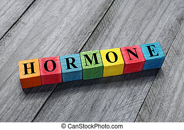 hormone text on colorful wooden cubes