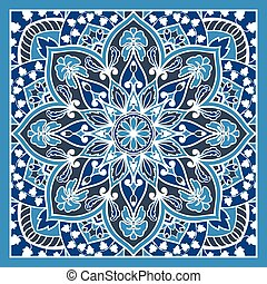 Blue shawl with floral ornaments.