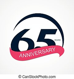 Template Logo 65 Anniversary Vector Illustration EPS10