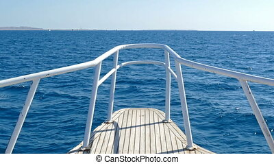 view on yacht bow floating on sea