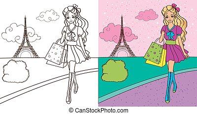 Colouring Book Of Girl Shopping - Colouring book vector...