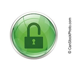 Green unlock button
