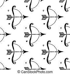 Sketch arrow bow in vintage style, vector